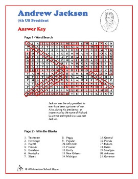Andrew Jackson - U.S. Presidents Word Search and Fill in the Blanks
