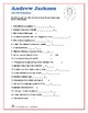 Presidents Word Search and Fill in the Blanks - Andrew Jackson