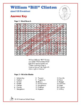 Bill Clinton - US Presidents Word Search and Fill in the Blanks