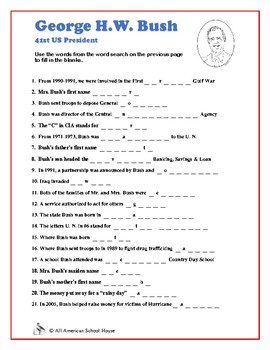Presidents Word Search and Fill in the Blanks - George H.W. Bush