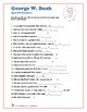 George W. Bush Word Search and Fill in the Blanks