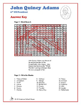 John Quincy Adams - Presidents Word Search and Fill in the Blanks