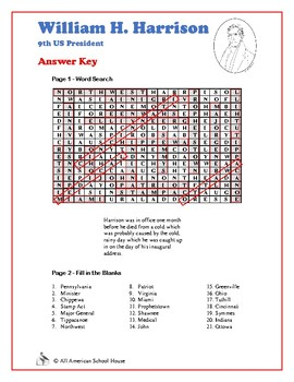 Presidents Word Search and Fill in the Blanks - William H. Harrison