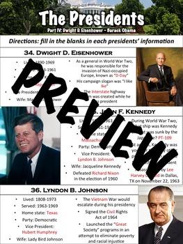 Presidents Worksheet Part 4