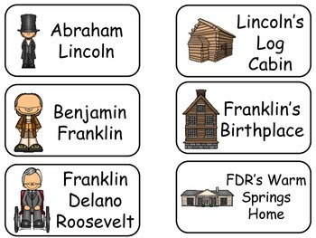 Presidents and Monuments themed printable Picture Word Flash Cards. History flas