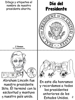 Presidents' day book- English & Spanish