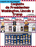 George Washington, Abraham Lincoln, Donald Trump, Presidents Day in SPANISH