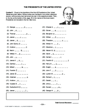 Presidents of the United States, AMERICAN HISTORY LESSON 52 of 150 Contests+Quiz