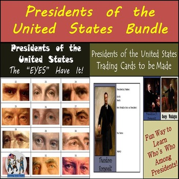 """Presidents of the United States - Bundle: 45 Trading Cards & The """"EYES"""" Have It!"""