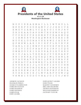 President's Day: Presidents of the United States Word Search Packet