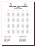 President's Day: Presidents of the United States Word Sear