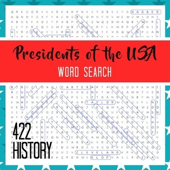Presidents of the United States Word Search Puzzle