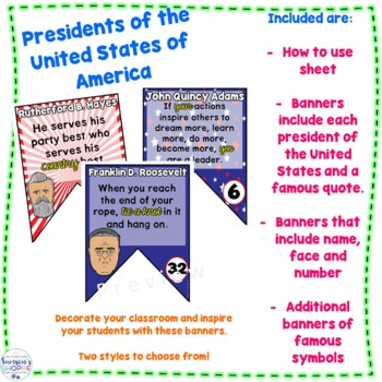 Presidents of the United States of America Inspirational Banner Classroom Decor