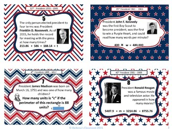 Presidents' Day Problem Solving Math Task Cards: 4th - 6th Grade