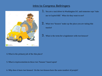 Presiding Members of Congress PowerPoint and Worksheet