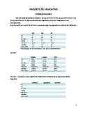 Presente del indicativo (Tablas de conjugación). Present indicative, cojugations