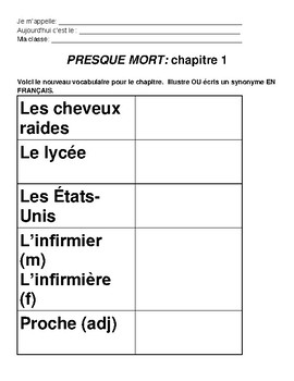 Presque Mort- Chapter 1, Vocabulary and Comprehension questions