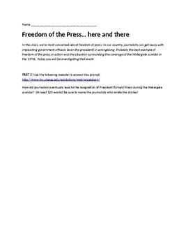 Press Freedom and Watergate Mini Webquest