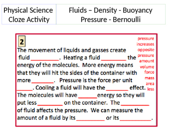 Pressure, Density and Buoyance Cloze Activity