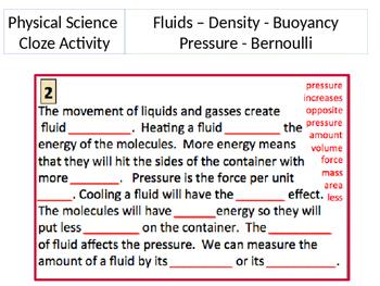 Pressure, Density and Buoyance Cloze Activity