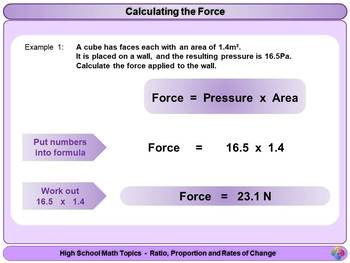 Pressure, Force and Area for High School Math