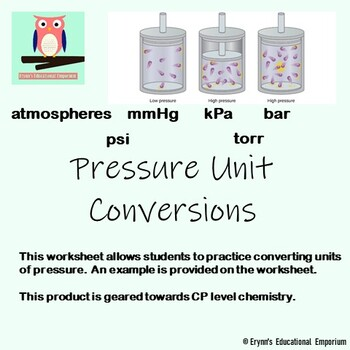 Pressure Unit Conversions Worksheet