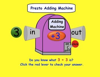 Presto Adding Machine Interactive SMARTboard Activity for Gr. 1