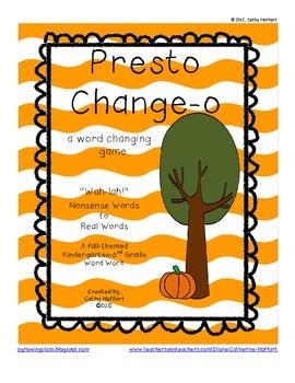 Presto Change-o: A Word Changing Game {K-3 Word Work}