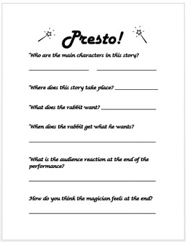 Presto! Disney Short Companion Worksheet