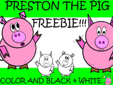 -Freebie- Pig Clip Art // Preston the Pig: Looking up and Waving