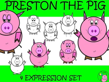 Pig Clip Art // Preston the Pig: Scared, Tired, Sad, and Scared Jumping