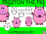 Pig Clip Art // Preston the Pig: Scared, Tired, Sad, and S