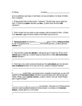 Pretéito Irregular - Spanish Past Tense Word Problems