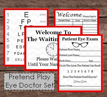 Pretend Doctor Eye Chart & Patient Exam Check Up - Kids Doc Dramatic Child Play