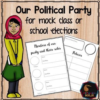Pretend Mock Class Election Activity: Make a Political Party