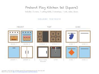 Pretend Play Cardboard Kitchen Set (Square Box Format)