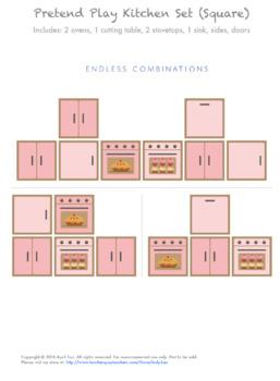 Pretend Play Cardboard Kitchen Set (Square Box Format, Pink)