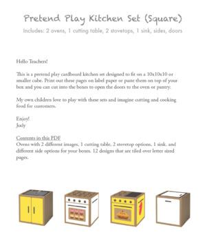 Pretend Play Cardboard Kitchen Set (Square Box Format, Yellow/White)