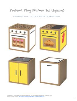 Pretend Play Cardboard Kitchen Set Square Box Format Yellow White