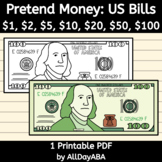 Pretend Play Money - US Dollar Bills, US Currency - Counti