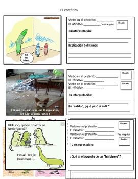 Preterit Meme and Comic Analysis Activity (El pretérito)
