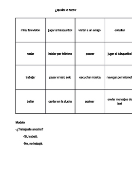 Preterit People Bingo (AR Verbs)
