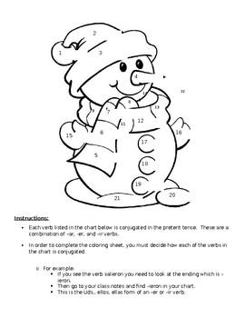 Preterit Regular Recognition Coloring Sheet