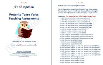 Preterit Tense Verbs  Teaching Assessments