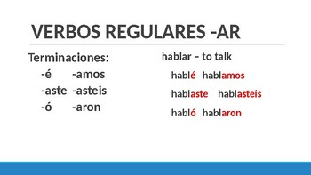 Preterit Verb Forms - All Levels of Spanish!