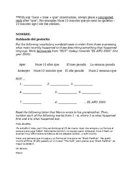 Preterit Vocab. - Vocab. List and Worksheet; Ayer, La semana pasada, etc.