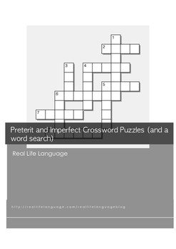 Preterit and Imperfect Crossword Puzzles (and a word search)