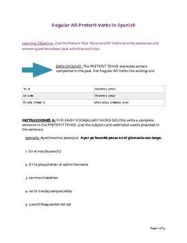 Preterit -ar Verbs Worksheet