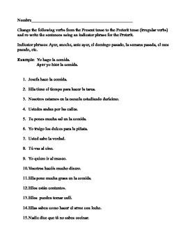Preterit of irregular verbs Hoja # 3