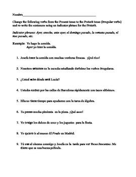 Preterit tense/ irregular verbs